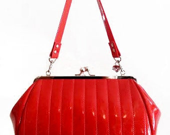 Ruby Red Sparkle Vinyl Purse, Retro Handbag, Rockabilly Bag- MADE TO ORDER