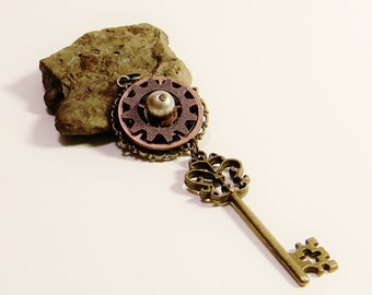 Antique Victorian Filigree Key and Pearl Eye Steampunk Pendant