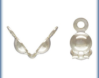 "Sterling Silver 0.036"" Hole Clamshell Bead Tip w/2 Rings - 100pcs  Wholesale price 30% discounted (6268)/5"