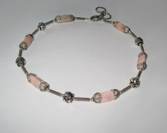 """Pastel Pink """"Water Llily"""" Rhodochrosite In Antiqued Sterling Silver Necklace"""