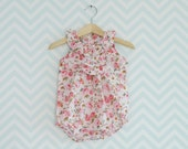 Baby Pink Floral Romper,  Shabby Chic Baby girl ruffle romper, Spring/Summer Soft Pink romper suit, All in one