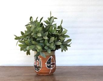 Vintage pottery planter, Terra Cotta Glazed Folk Art Hanging Planter