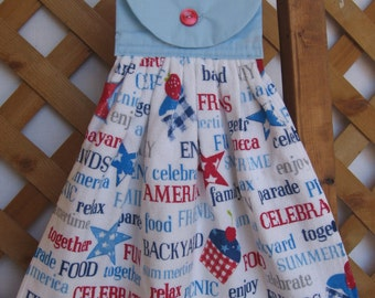 Patriotic Picnic Kitchen Tea Towel Hanging Dish Towel Picnic Towel for Barbecue Red White Blue Towel SnowNoseCrafts