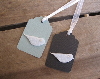 Wedding Gift Tags, Set of 6, Black OR Gray with White Felt Doves, White Dove Tags, Wedding Favor Tags
