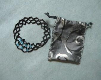Black Beadwork Lattice Circle Bracelet with Blue Crystals