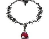Lydia Gothic Romance Victoriana Style Ruby Red Swarovski Crystal Black Chain Pendant Necklace, Regency Jewelry, Steampunk Necklace, Medieval