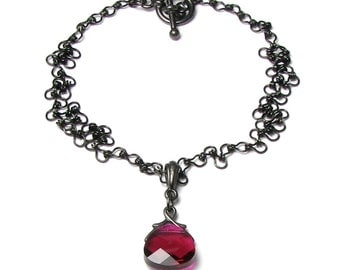 Lydia Gothic Romance Victoriana Style Ruby Red Swarovski Crystal Black Chain Pendant Necklace, Regency Jewelry, Steampunk Necklace, Medieval