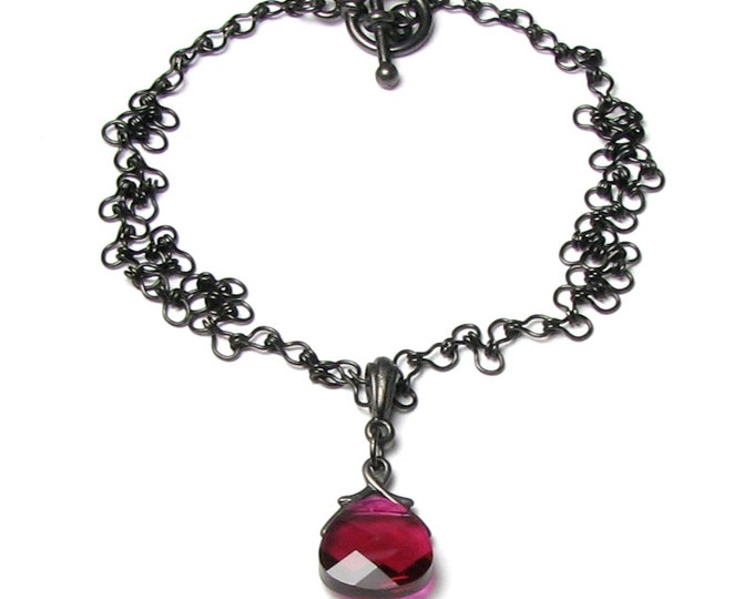 Gothic Victorian Romance Regency Style Ruby Red Swarovski Crystal Teardrop Pendant Necklace With Black Chain Steampunk Medieval Goth Wedding