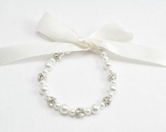 Junior Bridesmaid Gift, Child Bracelet, Pearl Flower Girl Jewelry, Baby Pearl Bracelet,  Flower Girl Ribbon Bracelet, Flower Girl Bracelet,