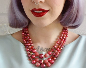 Vintage Pink and Red Beaded Triple Strand Necklace