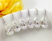 8% OFF Set of 5 Pairs Bridesmaids Crystal Earrings Wedding Bridal Sparkling Clear White Swarovski Crystal Dangling Earrings Under 25