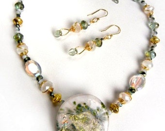 Dichroic glass pendant necklace & earrings set with crystals // green, white, gold // OOAK
