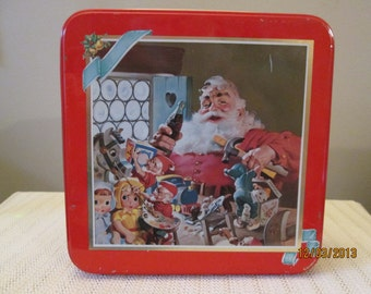 Vintage Coke Tin, Santa, Elves, Toys, Coke Bottle, Storage Container, Container For a Gift, Homedecor, Kitchenware,