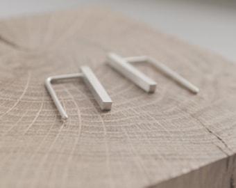 Delicate bar earrings // silver bar thread // minimalist earrings // Simple earrings // SM001