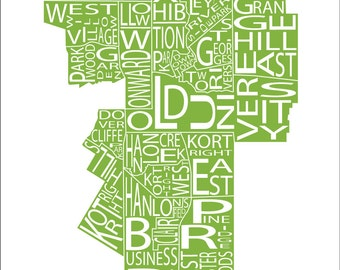 Typographic Map of Guelph, Ontario