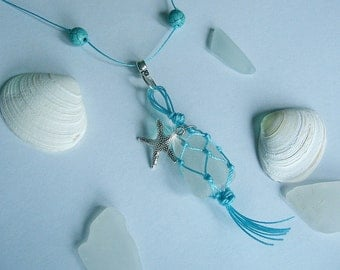 Beach glass necklace. Macrame necklace. Sea glass jewelry. Sea glass necklace