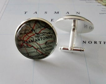 San Antonio Map Cufflinks / Texas cufflinks / Custom map cufflinks / Father's Day / Groomsmen Gift / Gift for Him / Gift boxed / silver