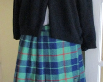Vintage Plaid Pleated Skirt With Side Pin / Wool / Ann Stevens / 8 / Preppy