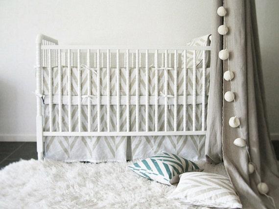 Printed baby crib bedding, printed crib bumper, printed crib skirt, soft crib sheets, Zigzag natural linen cotton crib bedding set, custom