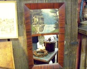 Vintage Mirror with Hand-Painted Picture