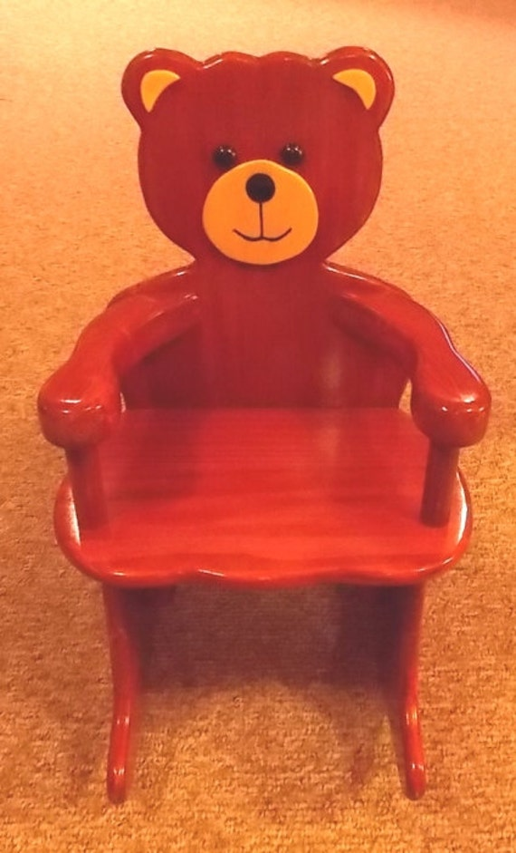adorable handcrafted teddy bear rocking chair. Black Bedroom Furniture Sets. Home Design Ideas