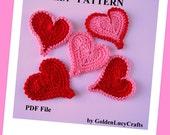 Crochet Pattern Asymmetrical Heart Applique, PDF File, Valentine's Day