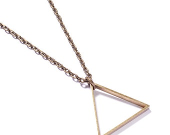 Triangle Necklace by We Are All Smith - Jewlery for men- Brass - Chain necklace. Great Valentine's Day gift idea!