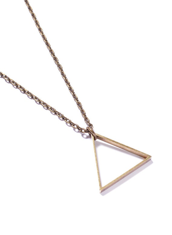 Triangle Necklace by We Are All Smith - Jewlery for men- Brass - Chain necklace. Jewelry for men - Brass triangle pendant - man necklace