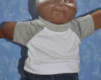 """Cabbage Patch Clothes - T-Shirt for 16"""" to 18"""" Boy Dolls - Grey and White - Handmade"""