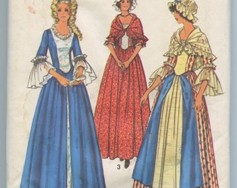 1970s Simplicity 6787 Womens Costumes for the Bicentennial Colonial Blouse Flared Skirt Cap Shawl Sewing Pattern Dress Gown Bust 34 UNCUT