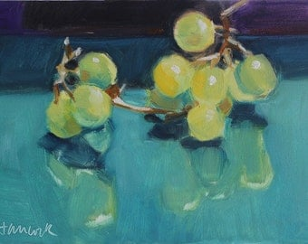 Yellow Green Grapes on Teal with Purple