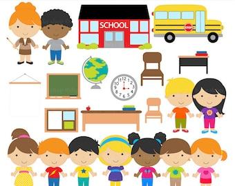 school clipart clip art digital printable - School Kids Clipart
