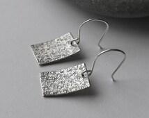 Scribble art earrings - unique hammered silver rectangle earrings