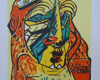 Wall Art Screenprint Greece Gods Heracles handmade Silkscreen waterbased ink Picasso bull lion or Evy of the Gods 19,7 x 25, inch edition 25