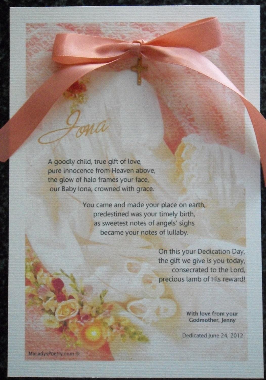 Girl dedication OR baptism keepsake poem card baby dressing