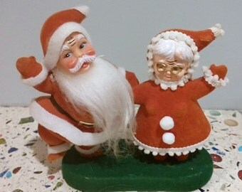 Flocked Santa and Mrs Claus Dancing Christmas Figures Decoration Display