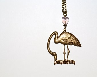 Flamingo Necklace, Kitsch Pendant, Pink Heart, Rockabilly Jewelry, Flamingo Bird, Necklace, Flamingo Kitsch, Large Flamingo, Phoenicopterus
