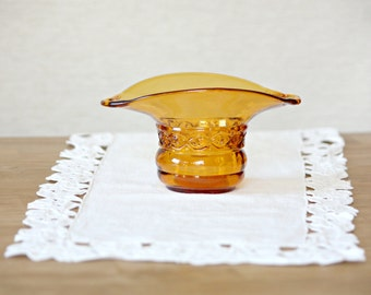Vintage Amber Candy Dish Glass Candy Dish Amber Candle Holder Orange Glass Bowl Housewares