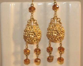 Handmade Vintage Brass and Topaz Flower Drop Earrings