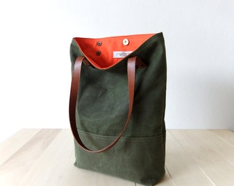 Waxed Canvas Tote in Military Green Brown Leather Straps Handmade Shoulder Bag Orange Lining Tote Bag