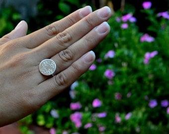 Leaf Ring, Sterling Silver, Leaf, Textured, Circle, Modern Ring