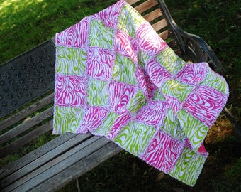 Bright Pink and Green Zebra Rag Quilt