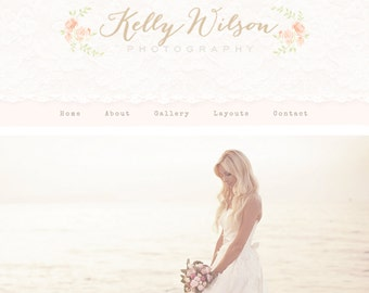 Responsive Wordpress Theme Blog Design Premade Wordpress Template Pretty, Pink, Rose, Watercolor, Romantic, Feminine, Beautiful, Vintage