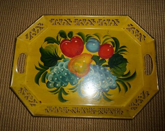 Vintage TOLEWARE/FRUIT/HANDPAINTED/Serving Tray/Rectangle/Old