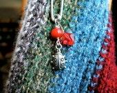 Shawl/Scarf pin -- ladybug charm, red glass and acrylic beads