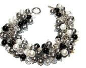 Chunky Black White and Gray Bracelet, Pearl and Crystal Bracelet, Pearl Cluster Bracelet, Bridesmaid Bracelet, Black Tie Wedding Jewelry