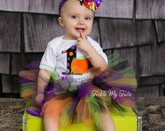Spooky Little Pumpkin Birthday Tutu Outfit-Little Pumpkin Birthday Outfit-First Birthday Pumpkin Outfit *Bow NOT Included*