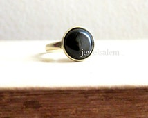 Onyx Ring Gold Black Ring Gem Stone Ring Simple Minimalist Round Ring Dark Geekery Statement Ring BACK TO SCHOOL High Street Fashion