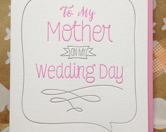 To my Mother On My Wedding Day. To my Mom On My Wedding Day. To My Father on Wedding day. Card for Mother or Father Mom Dad on wedding day.