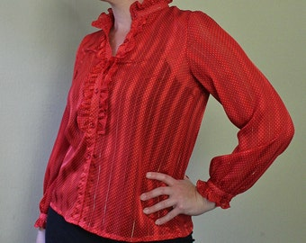 Vintage 1980s Red Blouse - Ruffeled Shirt - Button Up Blouse - Red Sheer Striped - Ruffled Collar - Ruffles - Office Wear - 80's Clothing